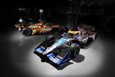 The No. 5 and No. 7 Arrow McLaren SP cars featuring the winning design from the Vuse Design Challenge.