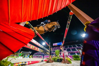 Great Britain's Ben Maher was quickest through the finish with Explosion W in the Jumping qualifier at the Tokyo 2020 Olympic Games in Baji Koen. (FEI/Arnd Bronkhorst) (PRNewsfoto/FEI)