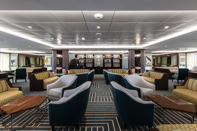 The Atlas Lounge, one of two elegant lounges aboard Atlas Ocean Voyages' World Navigator that features lively entertainment.