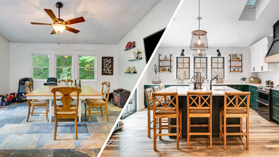 """Before and After from Episode 2: """"80's Kitchen Transplant"""" Project Location: Danvers, MA"""