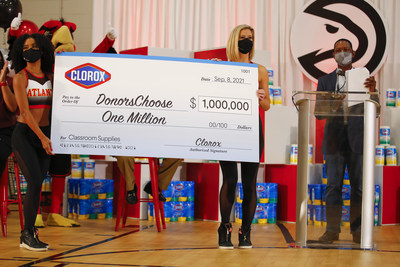 Associate Brand Director at The Clorox Company, Cedric McCants, celebrates the Clorox brand's $1,000,000 donation to DonorsChoose to fund school supplies for teachers nationwide, kicking off the announcement during a surprise pep rally with the Atlanta Hawks for students and staff from Emma Hutchinson Elementary School on Wednesday, Sept. 8, 2021 in Atlanta, Ga.