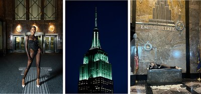 A model poses in the Empire State Building lobby (L); The Empire State Building lights mint for NYFW (M); A model lays on a desk in the Empire State Building lobby (R).